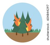 forest fire icon flat design... | Shutterstock .eps vector #604844297