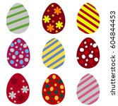 set of colorful easter eggs....   Shutterstock . vector #604844453