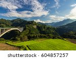 rice field landscape and arch... | Shutterstock . vector #604857257