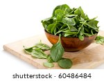 image of spinach and bowl with... | Shutterstock . vector #60486484