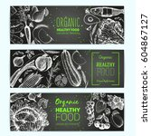 healthy food horizontal banner... | Shutterstock .eps vector #604867127