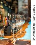 empty glasses set in bar | Shutterstock . vector #604868573