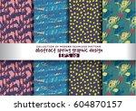 set spring floral background... | Shutterstock .eps vector #604870157