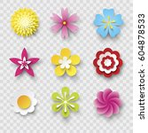 vector flowers set | Shutterstock .eps vector #604878533
