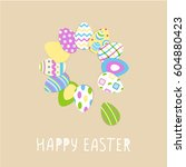 happy easter cute poster with...   Shutterstock .eps vector #604880423