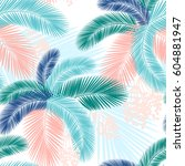 seamless pattern of tropical... | Shutterstock .eps vector #604881947