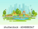 City park Urban outdoor decor, elements parks and alleys | Shutterstock vector #604888367