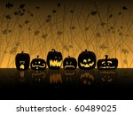 six jack o lanterns sit in the... | Shutterstock .eps vector #60489025