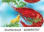 shrimp on a blue transparent...   Shutterstock .eps vector #604890707