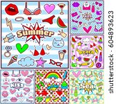 cute fashion summer patch... | Shutterstock .eps vector #604893623