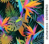 tropical leaves and paradise... | Shutterstock .eps vector #604898963