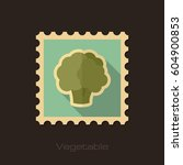 cauliflower flat stamp.... | Shutterstock .eps vector #604900853
