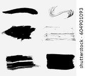 set of black paint  ink brush... | Shutterstock .eps vector #604901093