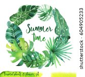 summer hand drawn watercolor...   Shutterstock . vector #604905233