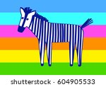 funny cartoon zebra on colorful ... | Shutterstock .eps vector #604905533