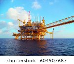 offshore construction platform... | Shutterstock . vector #604907687