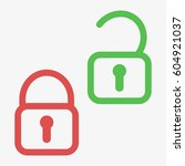 lock unlock icon. green and red ...