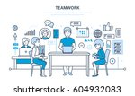 teamwork  communication and... | Shutterstock .eps vector #604932083
