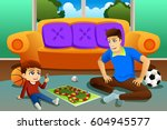 a vector illustration of father ... | Shutterstock .eps vector #604945577
