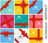 set flat gift card vector... | Shutterstock .eps vector #604953677