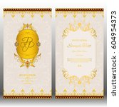 wedding invitation card with... | Shutterstock .eps vector #604954373