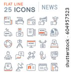 set vector line icons  sign and ... | Shutterstock .eps vector #604957523