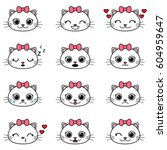 Stock vector set of cute cartoon cats emoticons 604959647