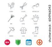 scissors  hammer and gloves... | Shutterstock .eps vector #604966043