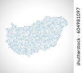 binary digital map of hungary.... | Shutterstock .eps vector #604981097