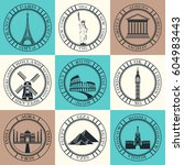 stickers and icons of travel. ... | Shutterstock . vector #604983443