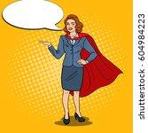 pop art happy super business... | Shutterstock .eps vector #604984223