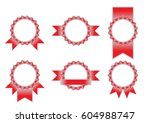 place for stamp. red ribbon.... | Shutterstock .eps vector #604988747