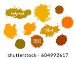 collection orange paint splash. ... | Shutterstock .eps vector #604992617