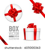 white round gift box with shiny ... | Shutterstock .eps vector #605000363