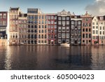 facades of colorful traditional ... | Shutterstock . vector #605004023