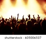 cheering crowd at a rock concert | Shutterstock . vector #605006537