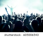 cheering crowd at a rock concert | Shutterstock . vector #605006543