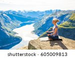 happy people relax in cliff... | Shutterstock . vector #605009813
