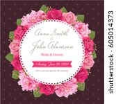 wedding invitation card  save... | Shutterstock .eps vector #605014373