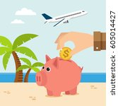 piggy bank on vacation at beach.... | Shutterstock .eps vector #605014427