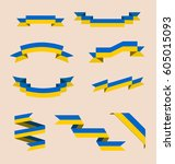 vector set of scrolled isolated ... | Shutterstock .eps vector #605015093