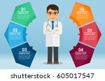 woman doctor standing with a... | Shutterstock .eps vector #605017547