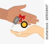 hand gives car key to another... | Shutterstock .eps vector #605018447
