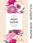 wedding invitation with flowers | Shutterstock .eps vector #605027153