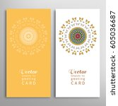 cards or invitations set with... | Shutterstock .eps vector #605036687