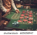 gambling table in luxury casino. | Shutterstock . vector #605058947