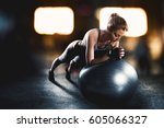 workout with fitness ball | Shutterstock . vector #605066327