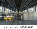 coworking in a loft style with... | Shutterstock . vector #605066483