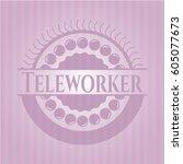 teleworker pink emblem | Shutterstock .eps vector #605077673