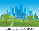 beautiful nature landscape park ... | Shutterstock .eps vector #605081897